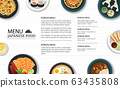 japanese food menu restaurant on a white wooden 63435808