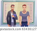 Criminal and lawyer on measuring height scale 63436127