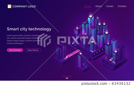 Smart city technology with isometric town 63436132