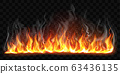 Vector realistic burning fire flames with smoke 63436135
