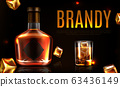 Brandy bottle and glass promo ad banner, poster 63436149