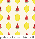 Watermelon slices and lemons seamless vector background. Abstract painted summer fruit pattern hand 63440538