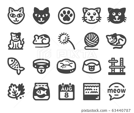 cat icon set 63440787