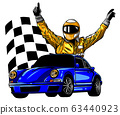 A vector illustration of a race car driver in front of his car 63440923