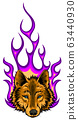 illustration of the wolf on fire for tattoo design 63440930