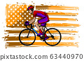 Cyclist in helmet - racing bike - isolated on white background 63440970