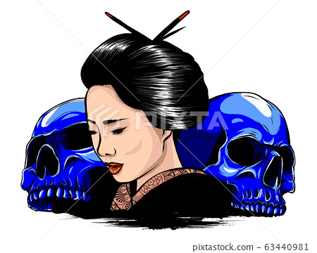 Young Japanese woman in a geisha costume. Charmingly cute face degeneration. 63440981