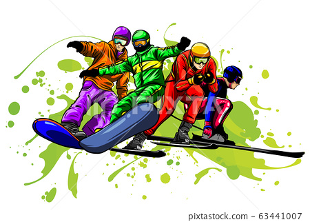 Snowboard jump isolated icons. Winter sports at kids holiday. Parents and children skiing in snow landscape. 63441007