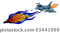 Modern American jet fighter aircraft. Vector sketch 63441009