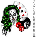 vector illustration of woman with casino playing card 63441071