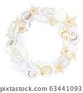 Seashells isolated raster round wreath 63441093