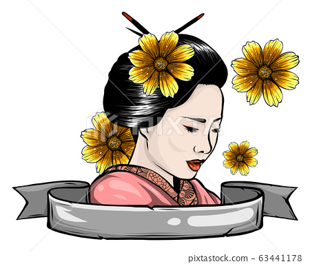 stylized vector illustration of a beautiful geisha girl's face 63441178