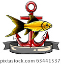 vector silhouette of sea animals with anchor 63441537