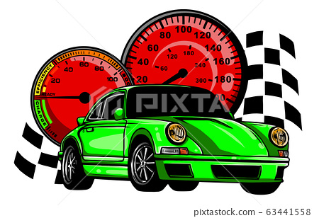 European classic sports car silhouettes, outlines, contours. 63441558