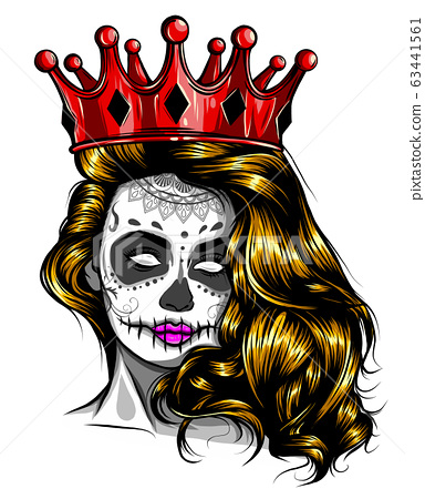 Beautiful girl in crown. Girl with long hair. Vector illustration for a postcard or a poster, print for clothes. 63441561