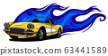 Car muscle old 70s vector illustration with flames 63441589