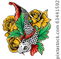 Hand drawn outline Koi fish and water splash Japanese tattoo 63441592