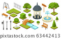 landscape garden outdoor nature elements in vector isometric park illustration isolated on white. Gardening summer set 63442413