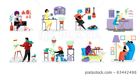 People do creative hobbies on vector hand drawn hobby illustration isolated on white. Person do favorit hobbies 63442498