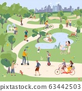 City Park vector illustration, people in city parkland ride bike, monocycle, Segway, skateboard and scooter. Family have picnic. 63442503
