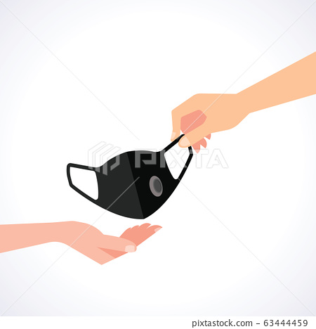 Hand to send a mask to the other hand vector 63444459