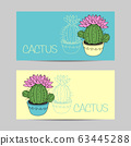 Set of horizontal banners with cactus and succulents in the pots. Hand drawn background. Vector 63445288