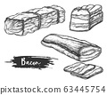 Set of isolated sketches of sliced bacon 63445754