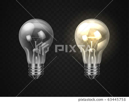 Set of off and on realistic lamp or 3d lightbulb 63445758