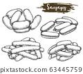 Vintage sketch of tied sausage or line of meat 63445759