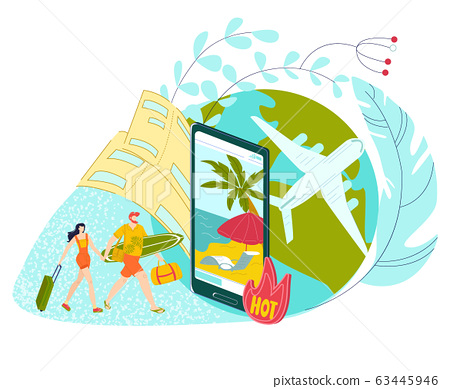Hot tour travel for vacation holiday at summer, young couple man and woman in swimming suits and mobile app to buy tour to sea lat vector illustration. 63445946