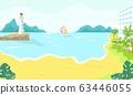 Beach resort hotel on sea or ocean coast in summer, palms, yacht in water, seamark for romantic vacation cartoon vector illustration. 63446055