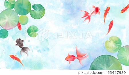 夏季圖像背景組成的金魚和睡蓮葉,水彩插圖 63447980