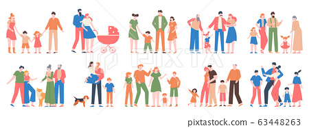 Family groups. Love family portraits, traditional families, mother, father, happy kids, different generations characters vector illustration set 63448263