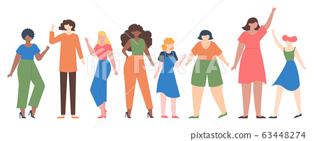 Women diverse. Female group empowerment, girls team with different size and skin color, diverseness sisterhood community vector illustration set 63448274