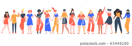 Women friendship group. Diverse female team standing together, holding hands, girls power, multinational sisterhood community vector illustration 63448280