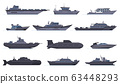 Military ships. Battle combat boats, missile ship, security boats, modern warships and submarine, army weapon battleships vector icons set 63448293