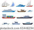 Sailboat ships. Sea transportation boats, cargo ship, yacht, sailing boat, speed boat and ocean cruise liner, sailboats isolated vector icons set 63448294