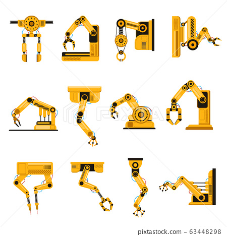Manufacturing robots arms. Automation equipment, factory robots arm tools, manufacture mechanical science equipment hand vector illustration set 63448298