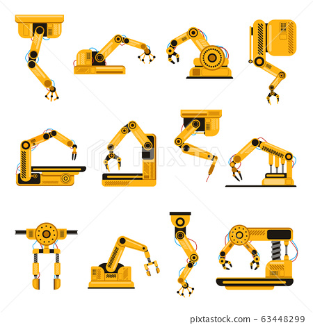 Robotic arms. Manufacturing industry mechanical robot arm, machinery technology, factory machine hands isolated vector illustration set 63448299