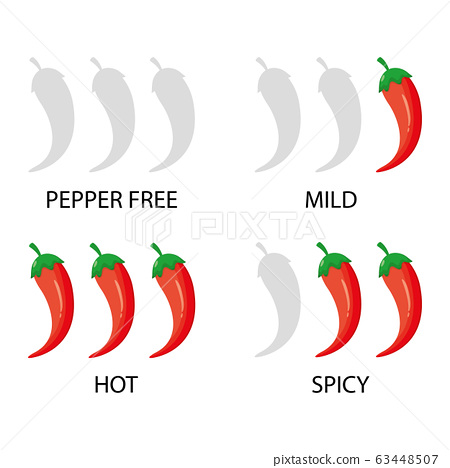 Modern vector illustration of spicy red chili pepper strength scale. Spice level marks. Mild, Spicy, hot and Hell. Chili level labels. 63448507