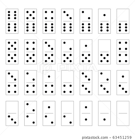 Domino set of 28 tiles. White pieces with black dots. Simple flat vector illustration 63451259