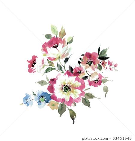 色彩豐富的花卉素材組合和設計元素 63451949