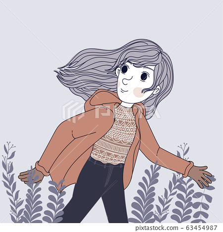 Women wearing winter coats are running in the park.Doodle art concept,illustration painting 63454987