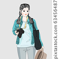 Woman holding a camera and traveling to the city on the weekend.Doodle art concept,illustration painting 63456487