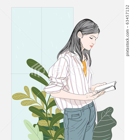 woman reading a favorite book while it was raining.Doodle art concept,illustration painting 63457132