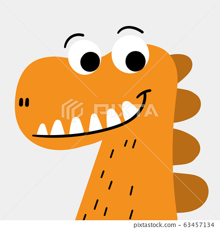 Orange monster character smiling happily.Doodle art concept,illustration painting 63457134