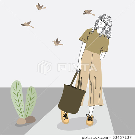 Woman shopping outdoors in a shop on the street.Doodle art concept,illustration painting 63457137