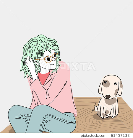 Woman looking at a cute puppy on a wooden table in a restaurant.Doodle art concept,illustration painting 63457138