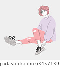 woman was dressed up in modern fashion and she sat on the cement floor in the open air.Doodle art concept,illustration painting 63457139