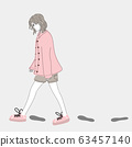 Woman walks outdoors in one of the cities and shadows her footprints.Doodle art concept,illustration painting 63457140